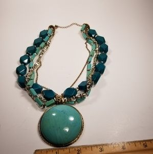 Womens Statement faux turquoise gold tone